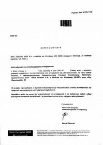 Sprzedaż długu z BZ WBK do Casus Finanse I NSFIZ