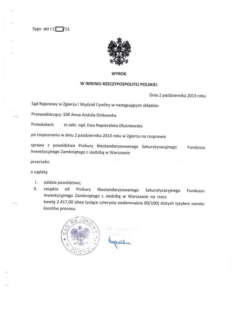 KRUK - Prokura NSFIZ, uznanie długu, wpłata raty i wygrana w sądzie