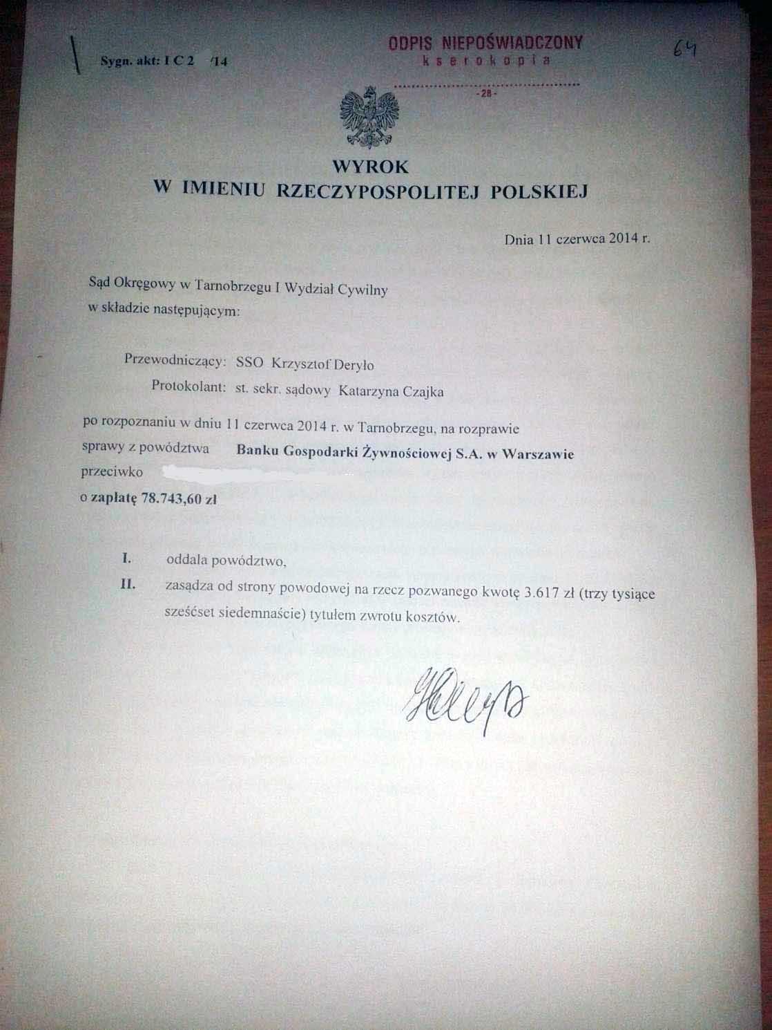 Wyrok w sprawie przeciwko BGŻ  – AntyWindyk.pl