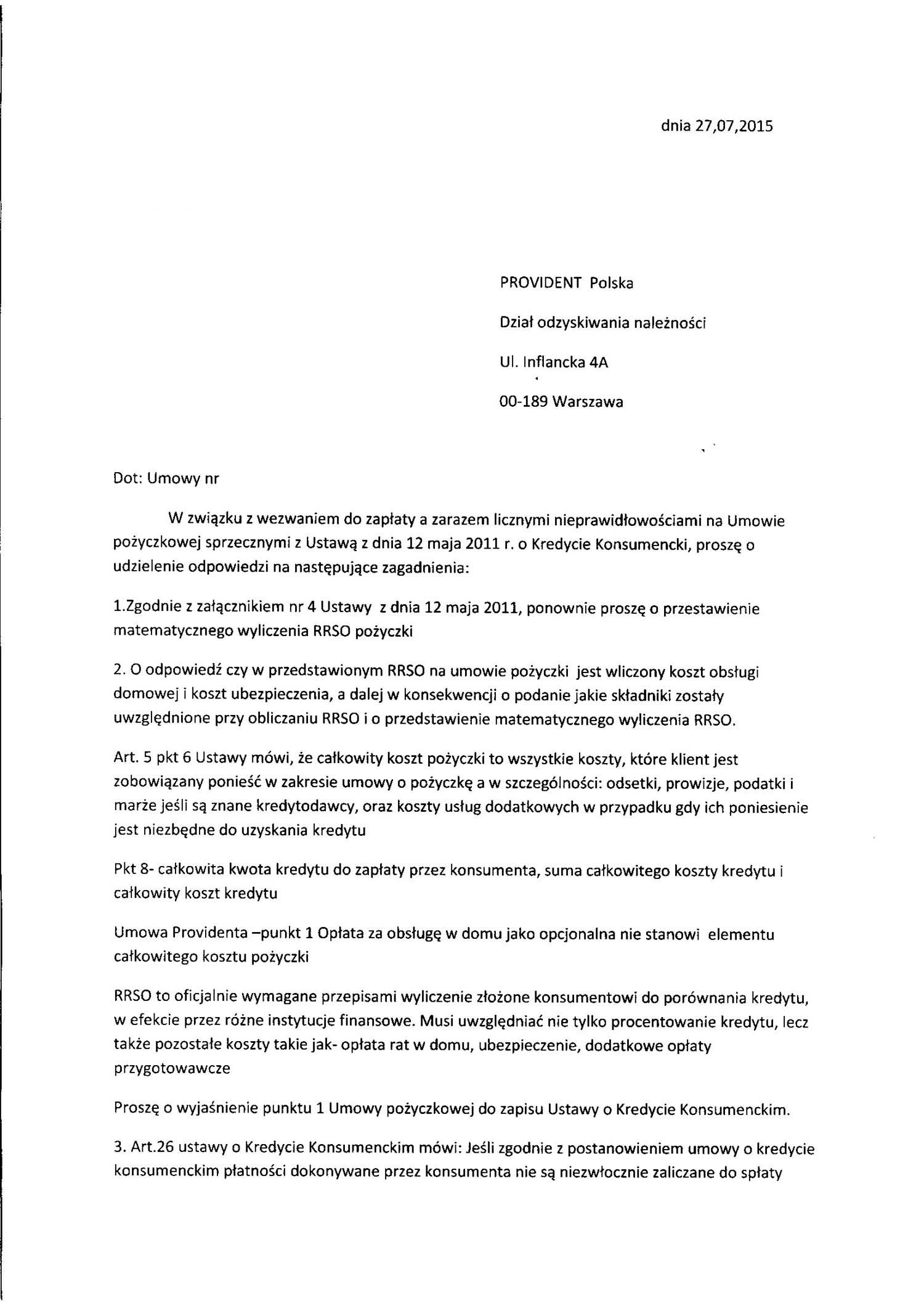 Pismo z żądaniem wyliczenia kwot z umowy
