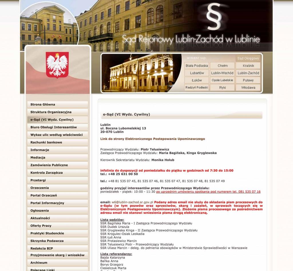Lista sędziów i referendarzy eSądu