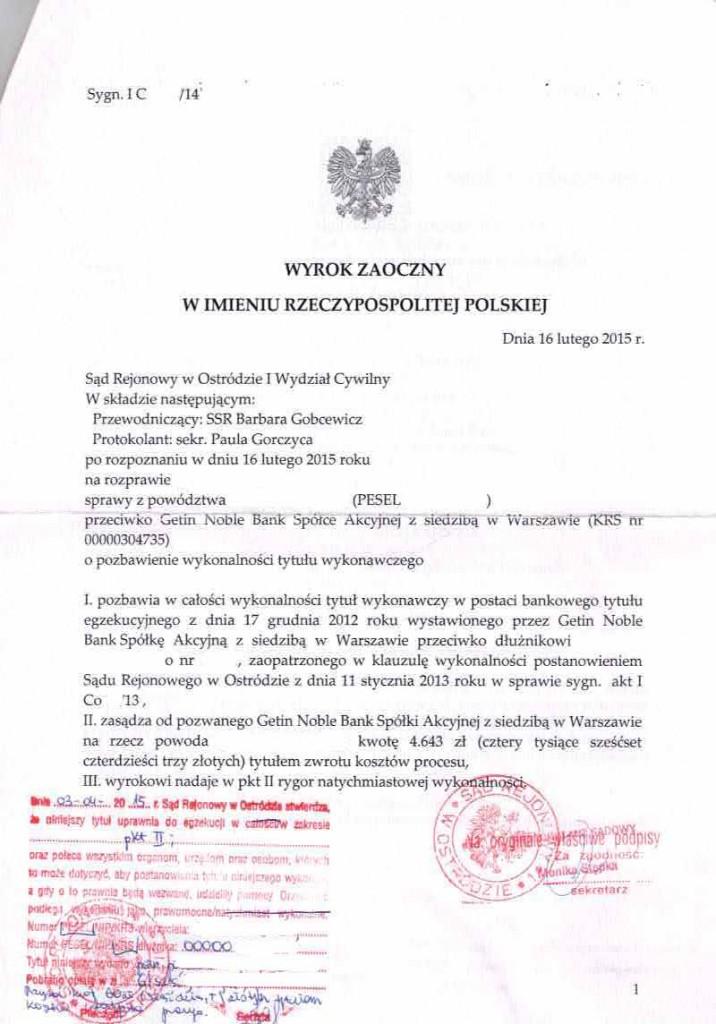 Wyrok z klauzulą wykonalności - Getin Noble Bank musi zwrócić 20.050zł
