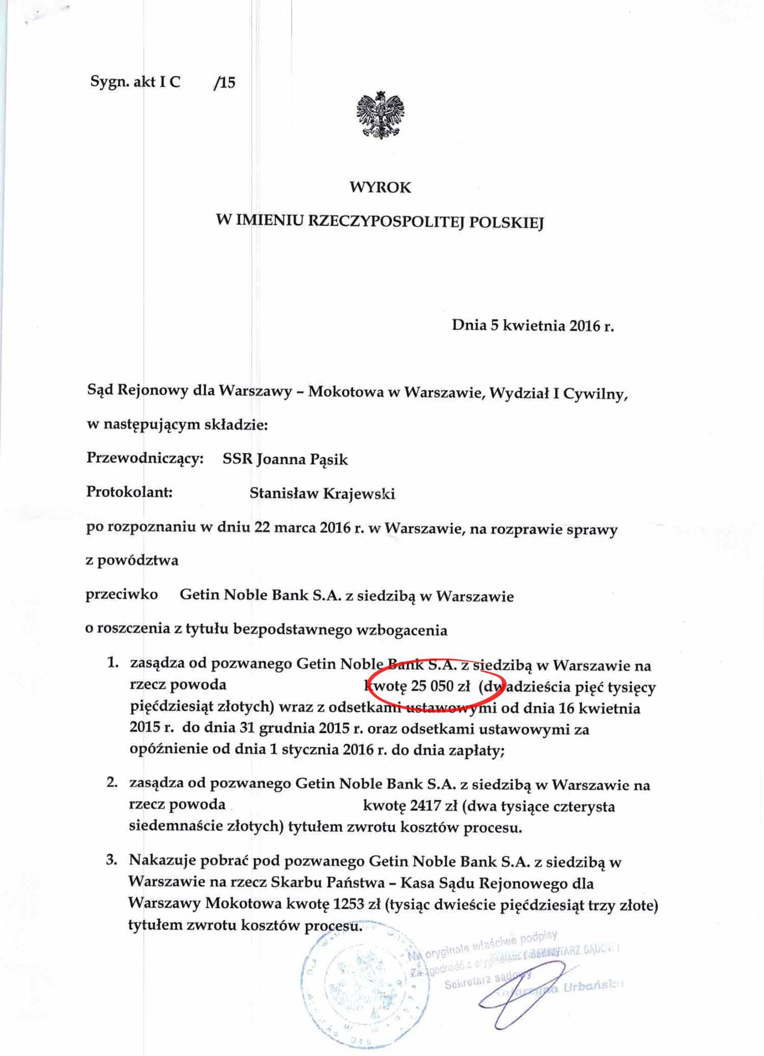 Wyrok – Getin Bank musi zwrócić 25.050zł
