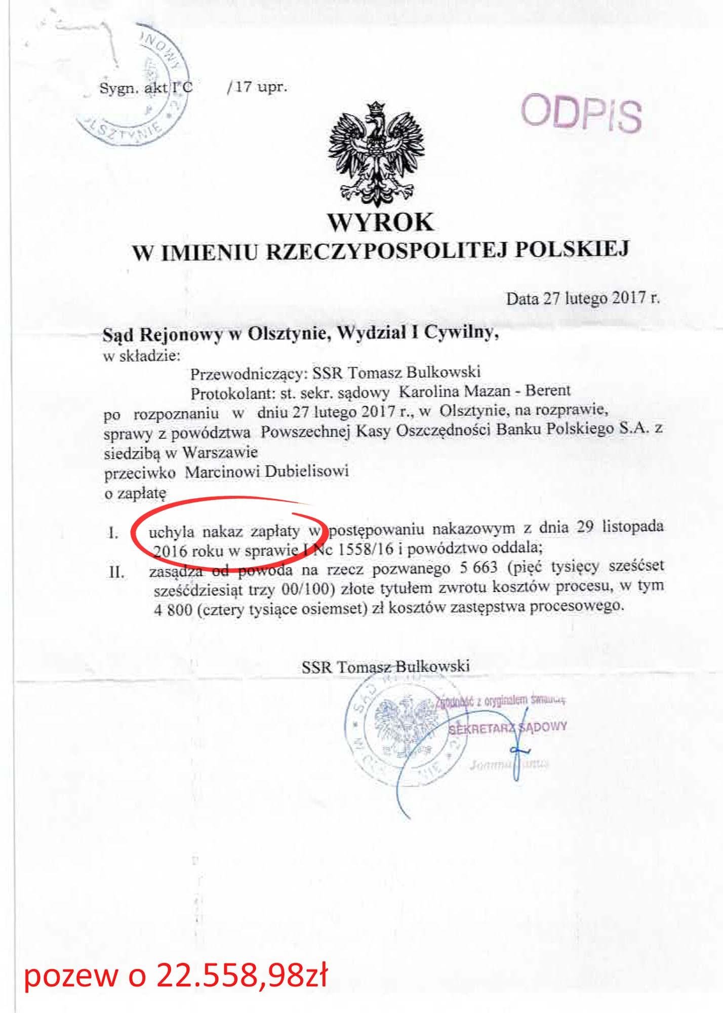 Wyrok – Marcin Dubielis