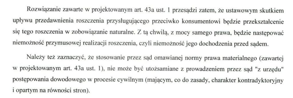 fragment komentarza do projektu ustawy z dnia 31 maja 2017 roku o zmianie ustawy o prawach konsumenta