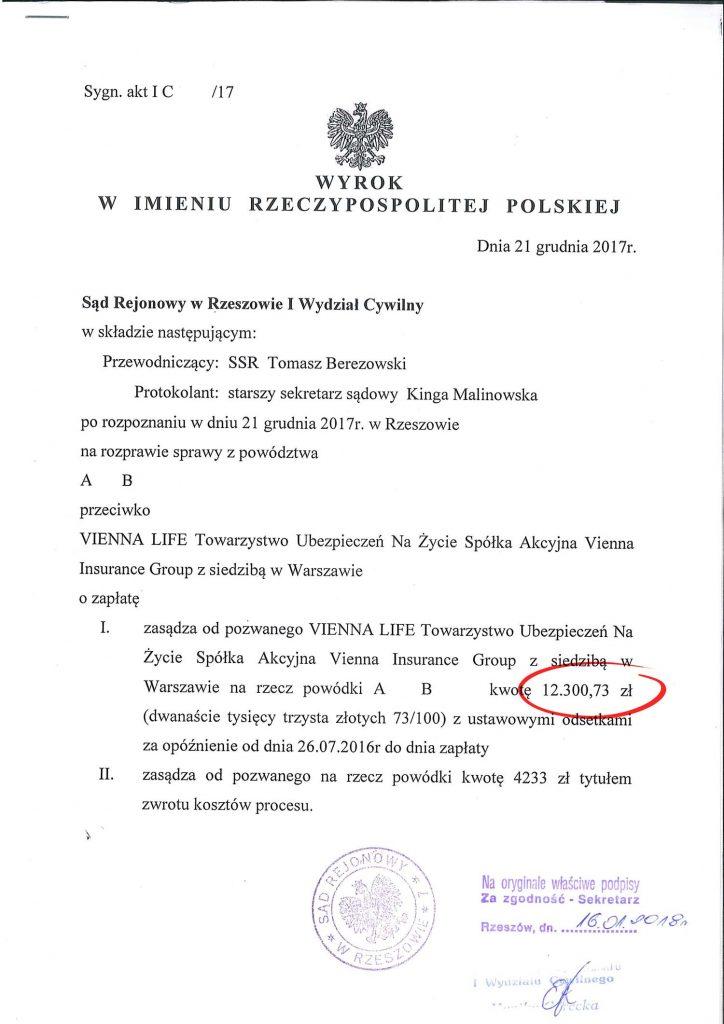 Wyrok - wygrana z VIENNA LIFE Towarzystwo Ubezpieczeń Na Życie S.A.