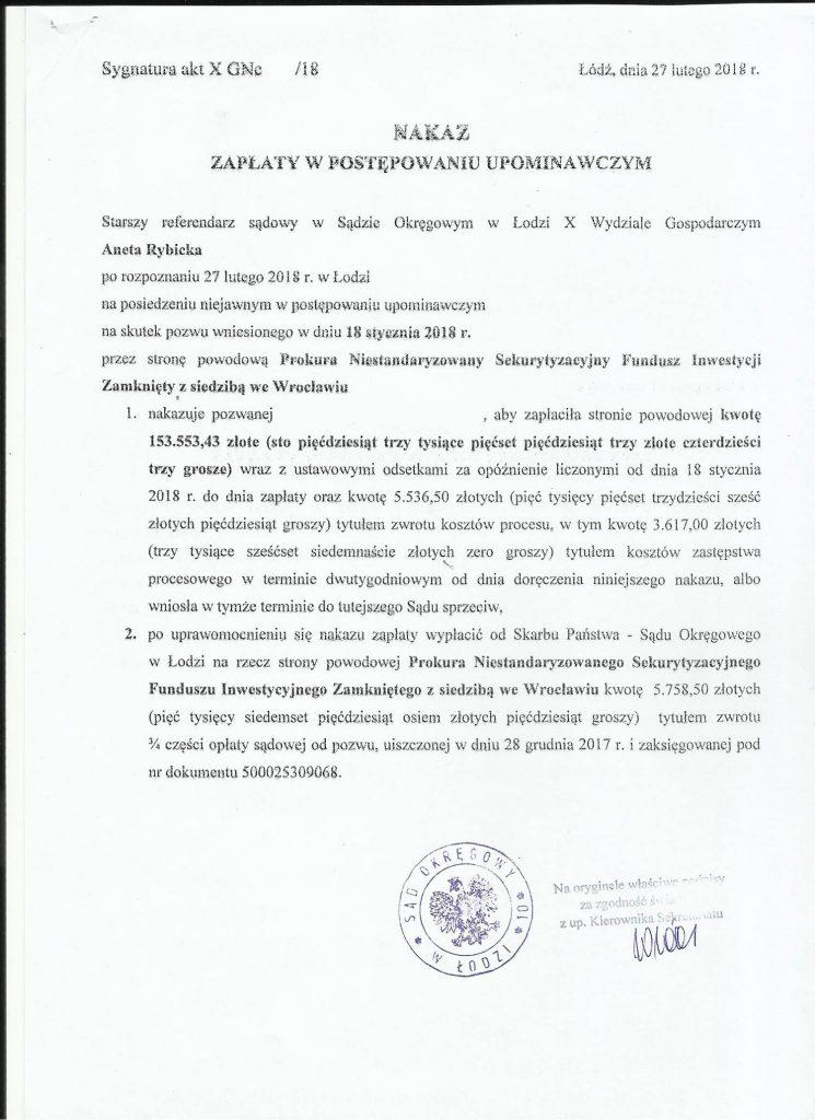 Nakaz zapłaty - Prokura