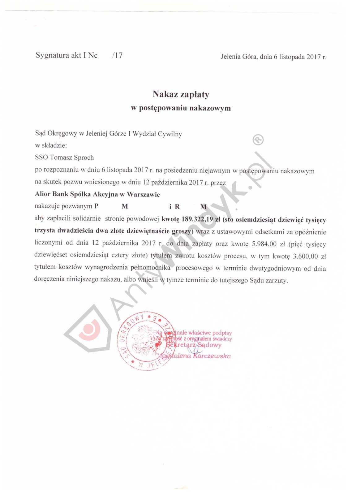 Nakaz zapłaty – Alior Bank