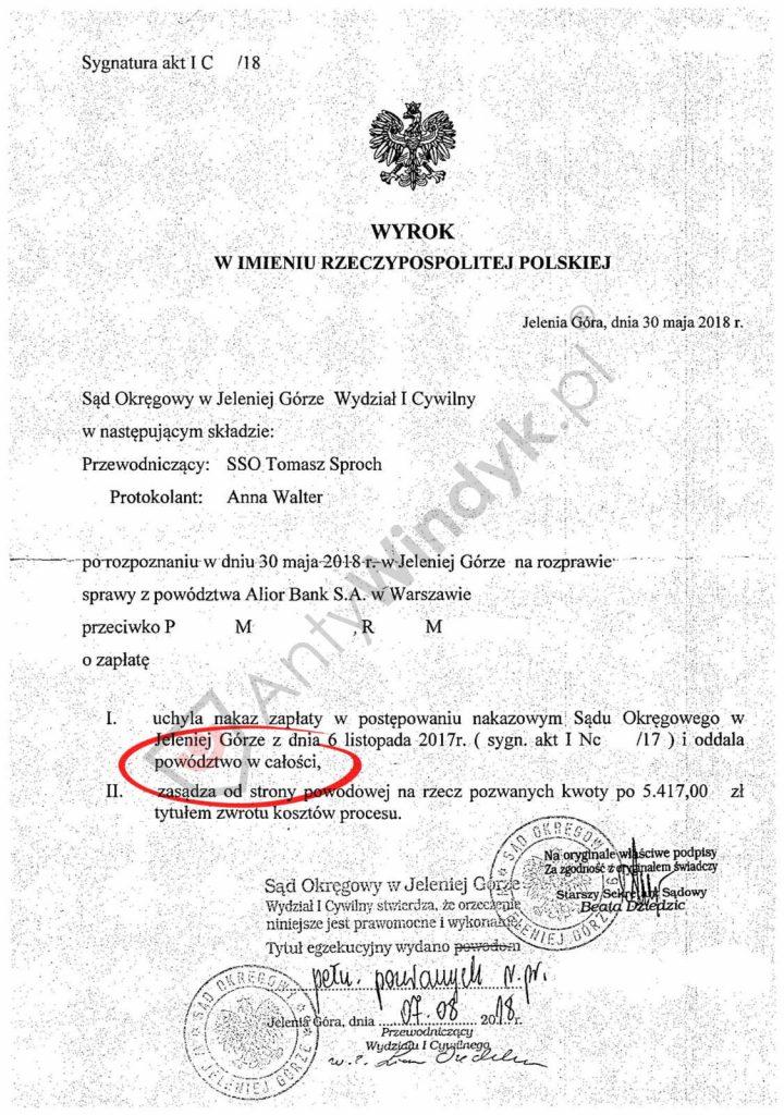 Wyrok - oddalenie powództwa - Alior Bank
