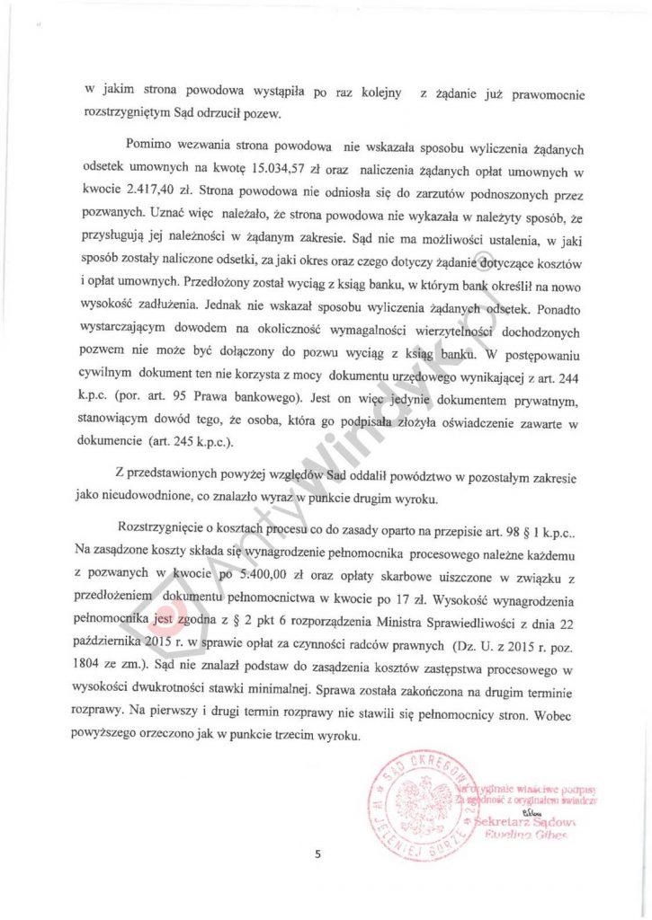 Wyrok - odrzucenie pozwu - Alior Bank