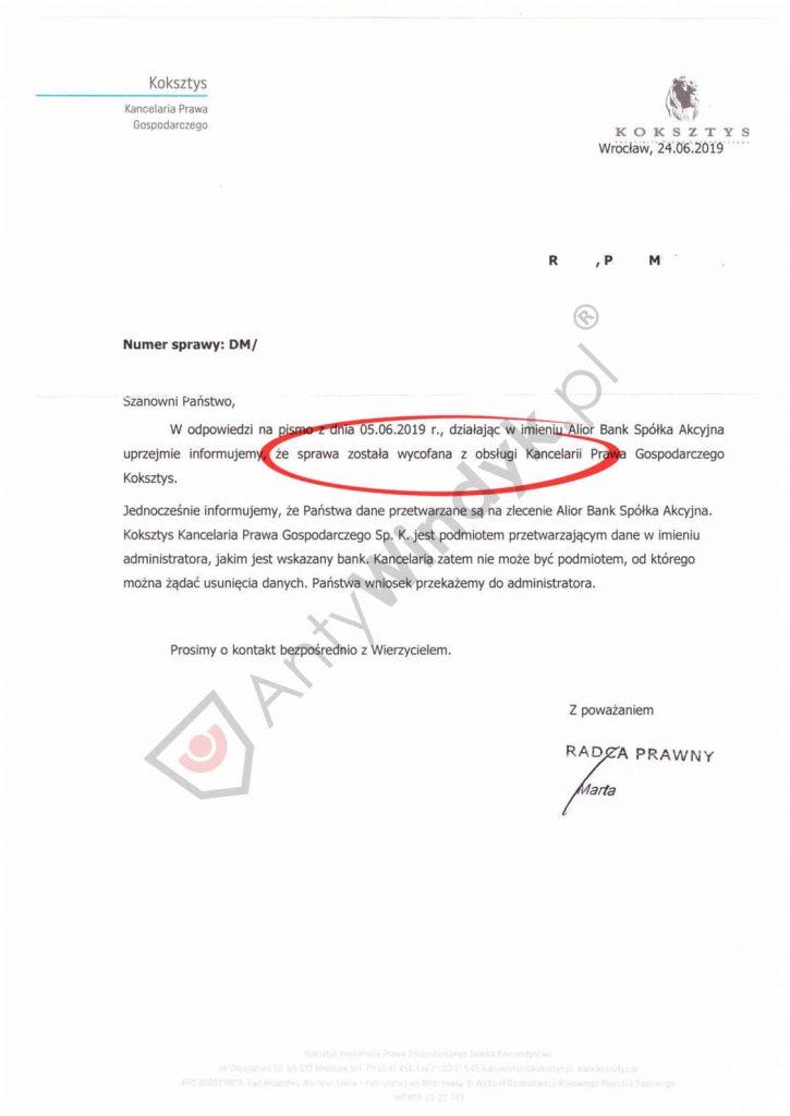 Wycofanie działań windykacyjnych - Kancelaria Koksztys