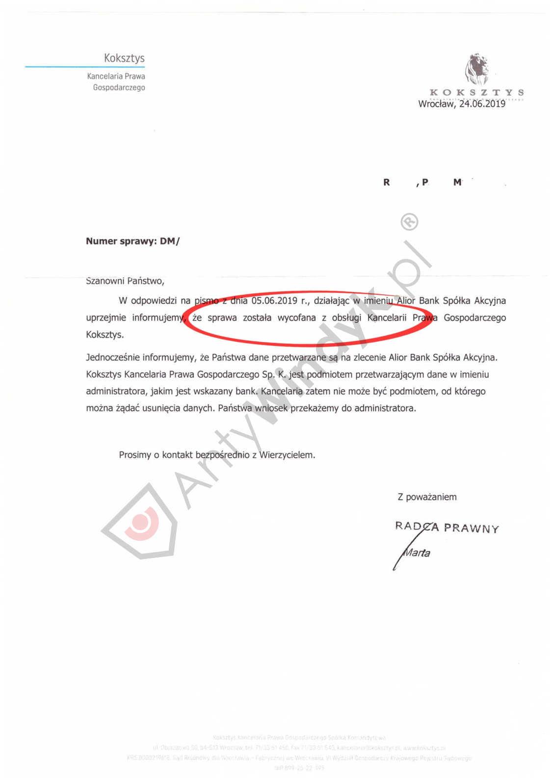 Wycofanie działań windykacyjnych – Kancelaria Koksztys