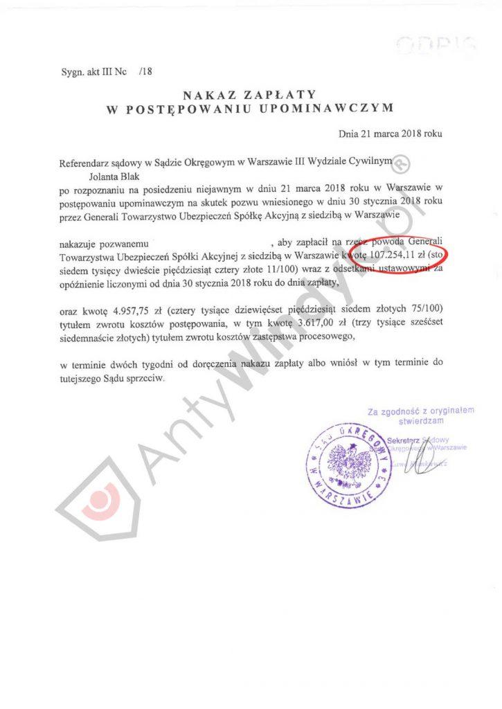 Nakaz zapłaty - TU Generali - regres - ubezpieczenie niskiego wkładu