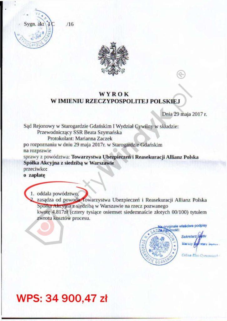 WYROK - TU Allianz - oddalenie powództwa w całości