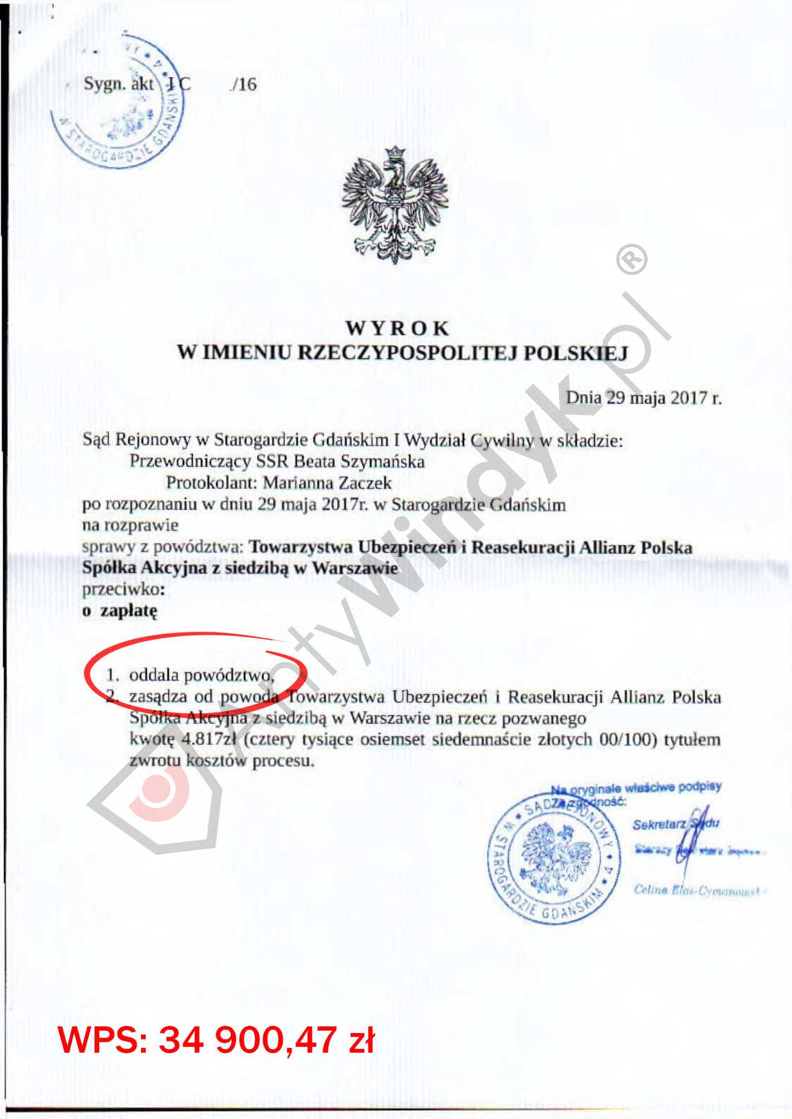 WYROK – TU Allianz – oddalenie powództwa w całości