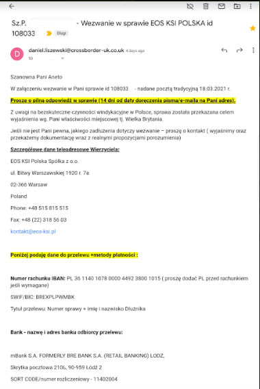Wezwanie EOS KSI Polska – Cross Border